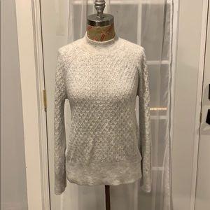 Loft knit gray mock neck sweater